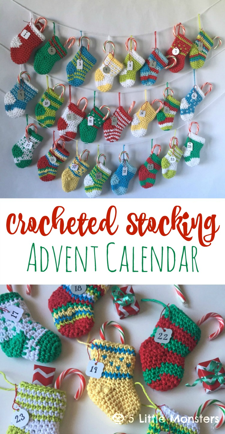 Advent Calendar Ideas Eyfs : Little monsters crocheted stocking advent calendar