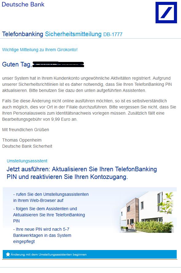 phishing mail alerts deutsche bank sicherheitsmitteilung vorname nachname. Black Bedroom Furniture Sets. Home Design Ideas