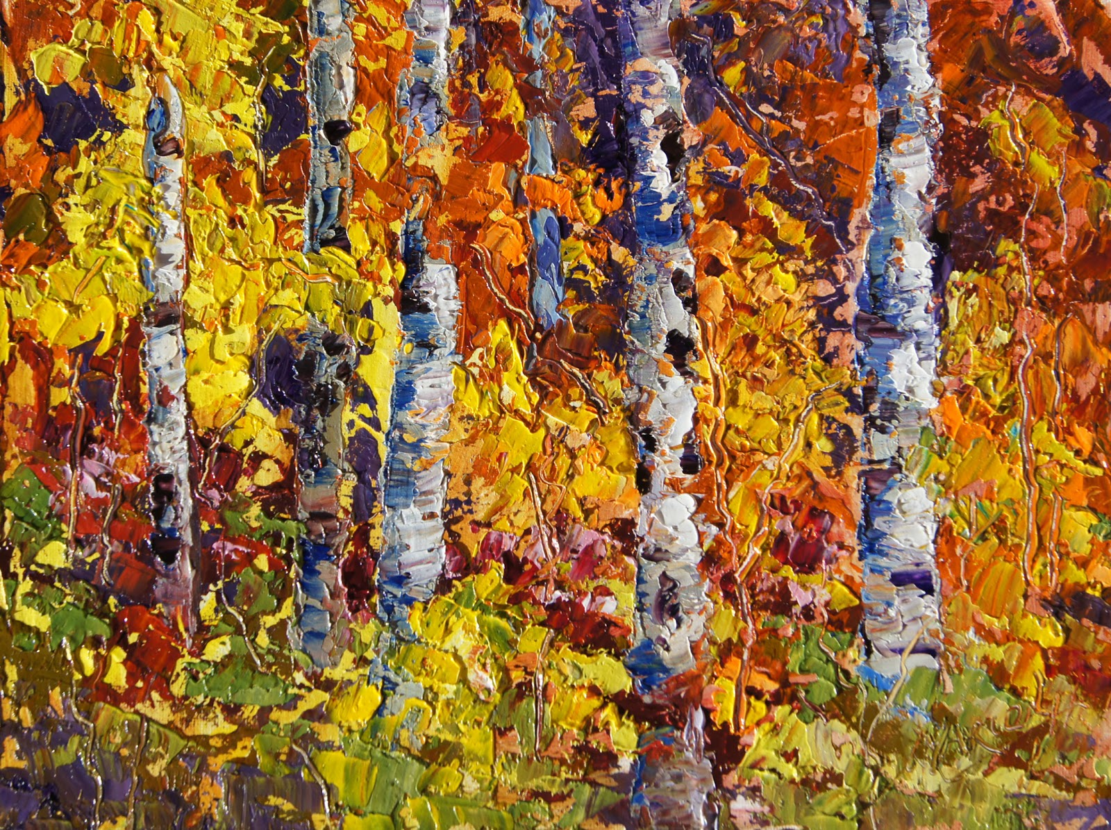 Palette knife painters autumn explosion fall colours oil for Fall pictures to paint