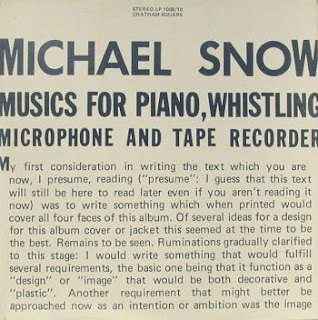 Michael Snow, Musics for Piano, Whistling, Microphone, and Tape Recorder
