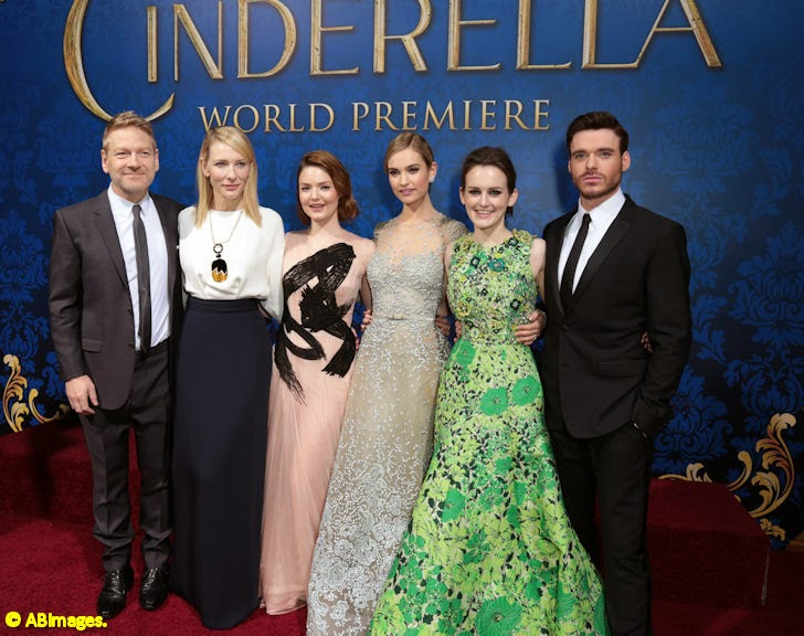 Director Kenneth Branagh and the cast of Cinderella at the film's Hollywood premiere.