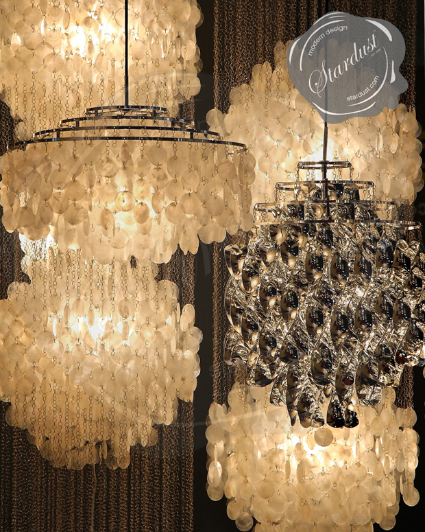 Modern Interior Design Long Chandelier For Staircase With Capiz