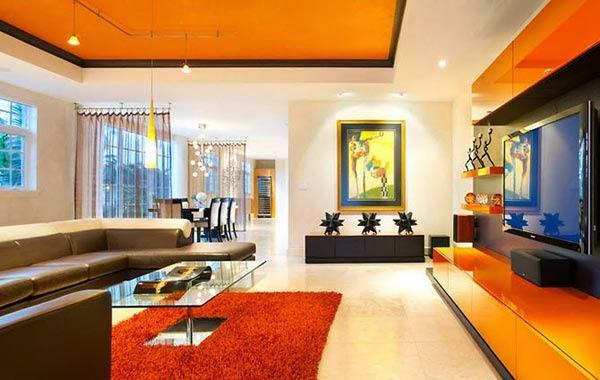 kombinasi warna cat rumah orange