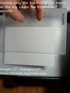 Partial embossing with the Cloud embossing folder