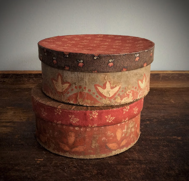 Red Paint Decorated & Fabric Boxes
