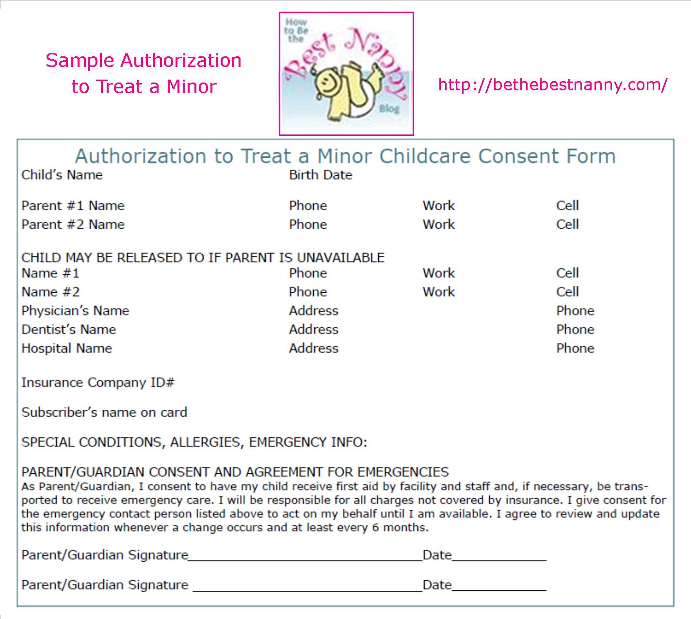 Have The Parents Signed An Authorization To Treat A Minor Consent Form?
