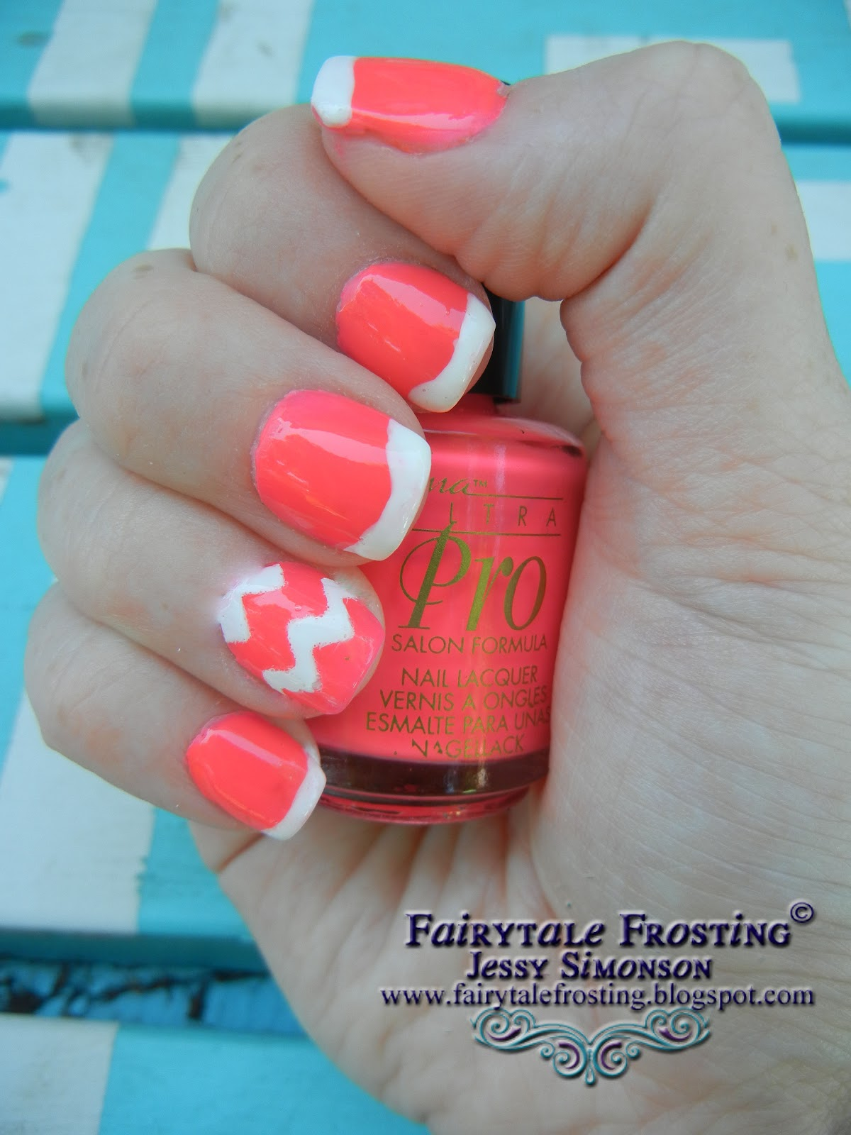 Fairytale Frosting: Pink and White Chevron Nail Art