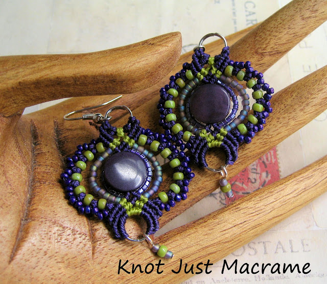 Knotted macrame earrings in purple and green from Knot Just Macrame