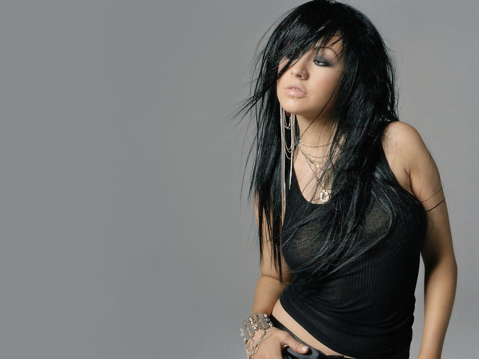 Christina Aguilera Modeling Pose In Black Dress Red Lips