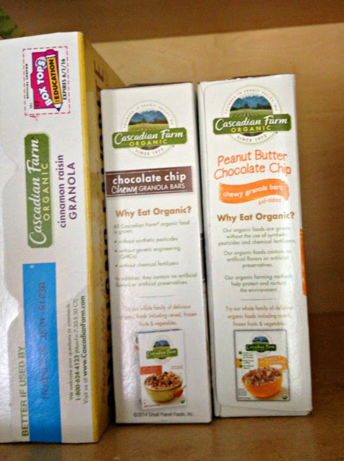 Cascadian Farms cereal and granola bars