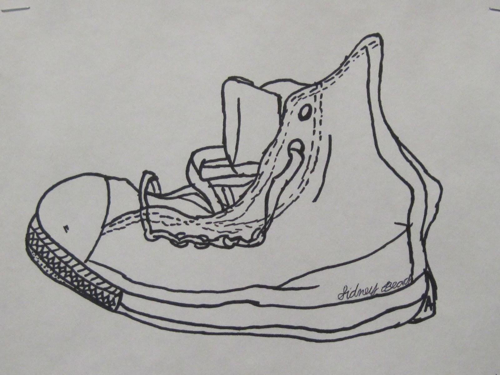Shana S Art Room Contour Shoe Drawings