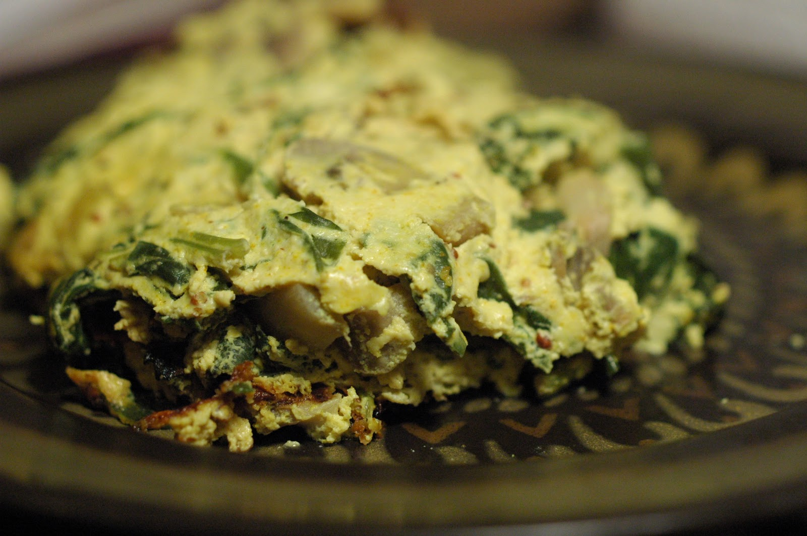 The Everyday Vegetarian: Vegan spinach and mushroom frittata