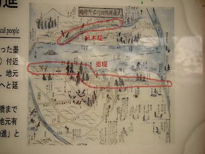 日本堤と墨堤の古地図