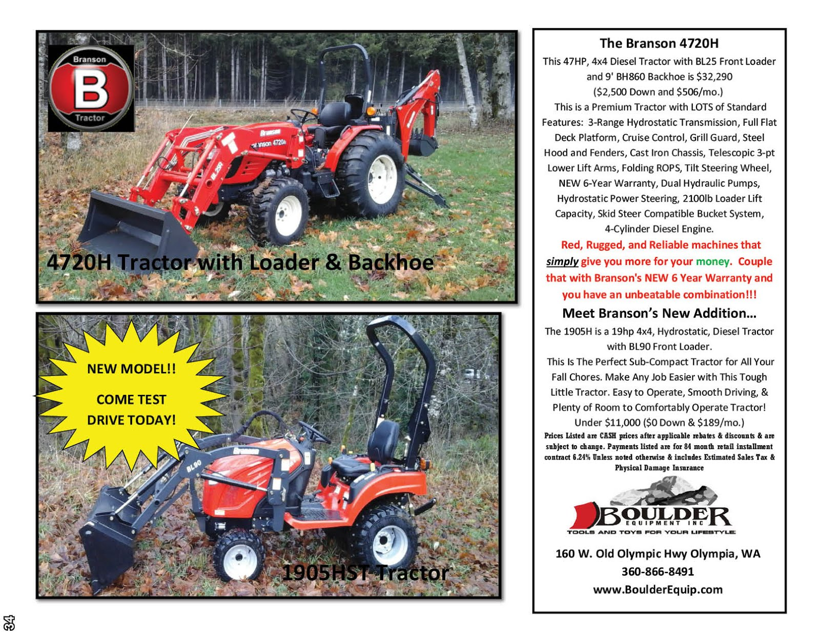 Boulder Equipment has Branson Tractors on Sale!!