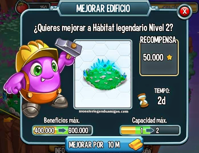 imagen del habitat legendario nivel 2 de monster legends
