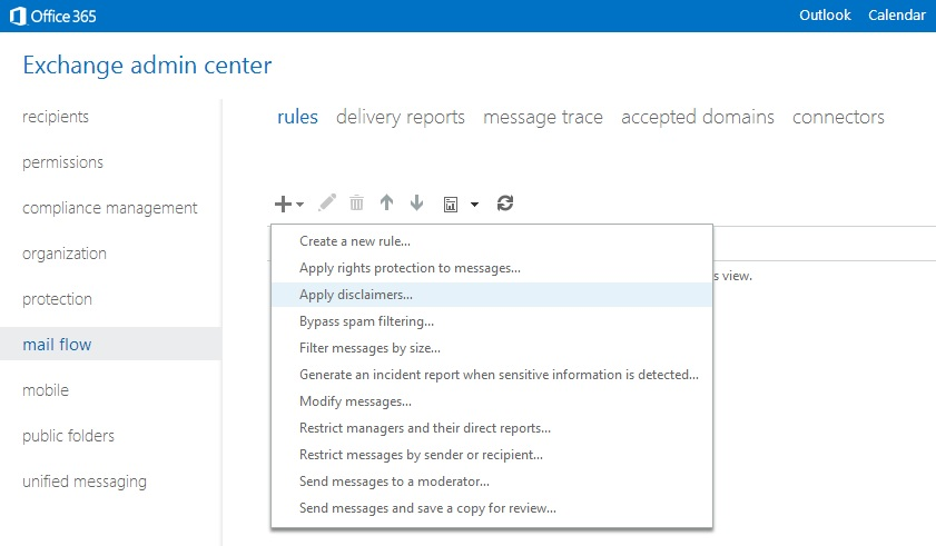 In The Left Navigation Pane Click Mail Flow And Then Rules