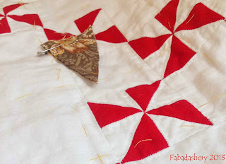 Hand Quilting the Red and White Pinwheel Quilt