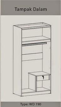 Tampak Dalam Lemari Pakaian 2 Pintu WD 190 Benefit Furniture