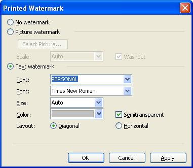 Watermark in microsoft word 2003 microsoft office support 2 check on text watermark and choose the font text size and color of it we can also set the layout of the watermark maxwellsz