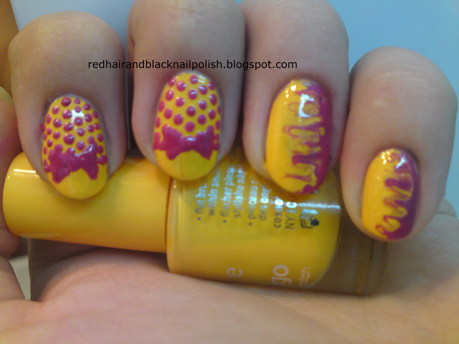 Yellow and Pink Nail Polish Designs