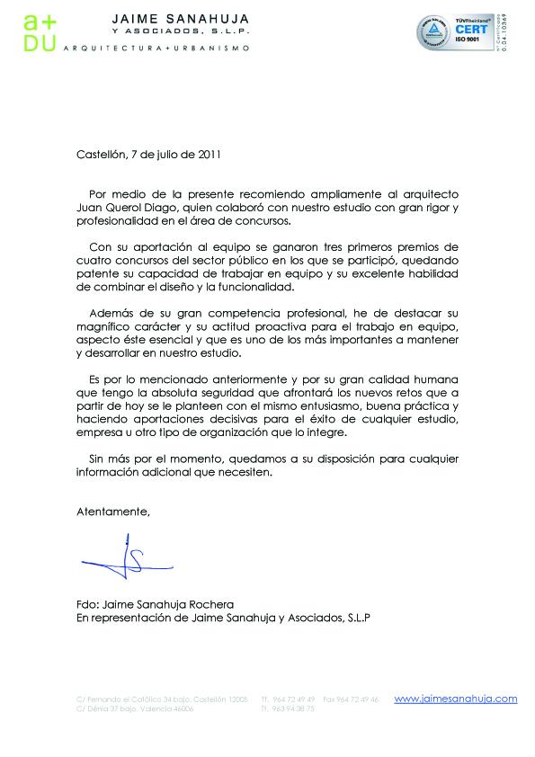 Juan Querol CARTAS DE RECOMENDACIN