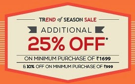 Additional 25% Off on Top Brand (Louis Philip, People, Peter England, Van Heusen) Clothing & Footwear @ Trendin