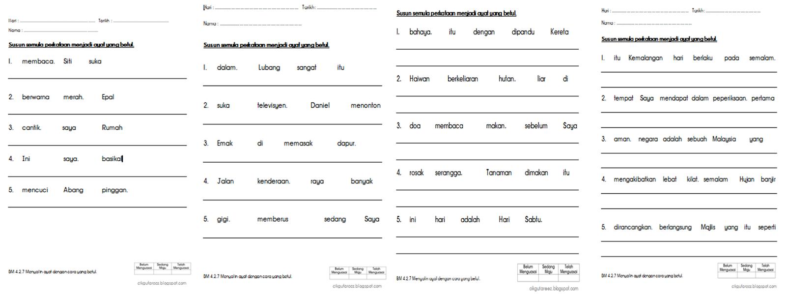 Dunia Sekolah Kemahiran Susun Perkataan Menjadi Ayat Yang Betul
