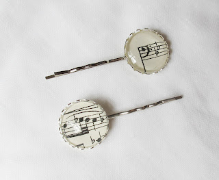 image music-themed accessories hair bobby pins clips bass clef music notes sheet music two cheeky monkeys