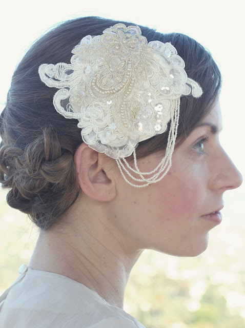 1920s inspired lace and pearl headpiece - catherine masi