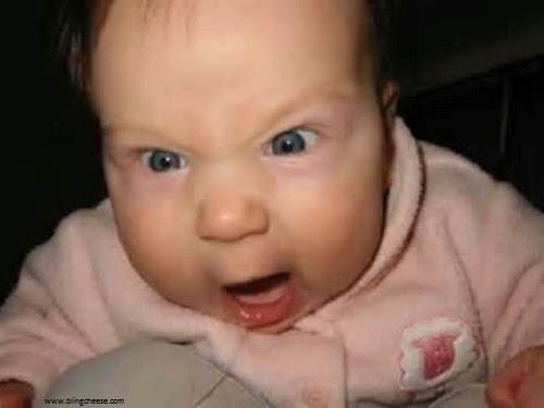 Photo humour bébé pas content