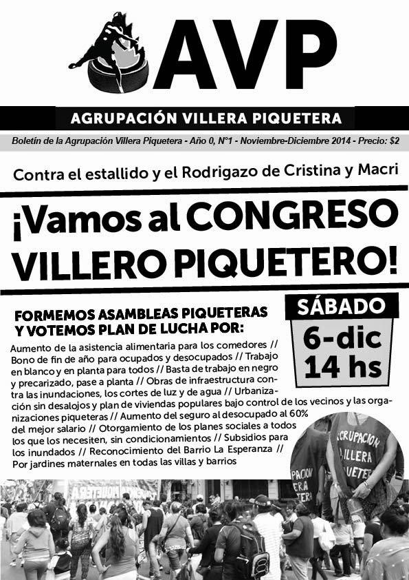 ¡VAMOS AL CONGRESO VILLERO PIQUETERO! - BOLETÍN DE LA AGRUPACIÓN VILLERA PIQUETERA
