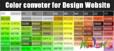 Bảng mã màu để thiết kế Blogspot, Website