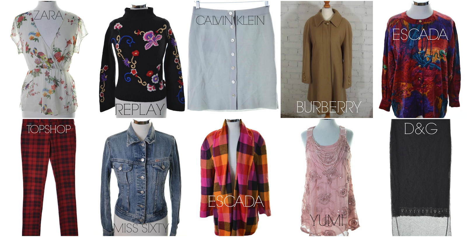 messina hembry designer vintage thrifting online burberry d&g calvin klein miss sixty topshop sara escada yumi replay
