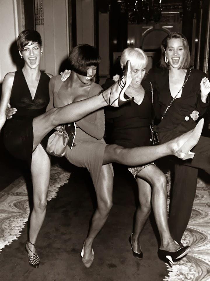 Linda Evangelista, Naomi Campbell, Polly Mellon, and Christy Turlington, circa 1989