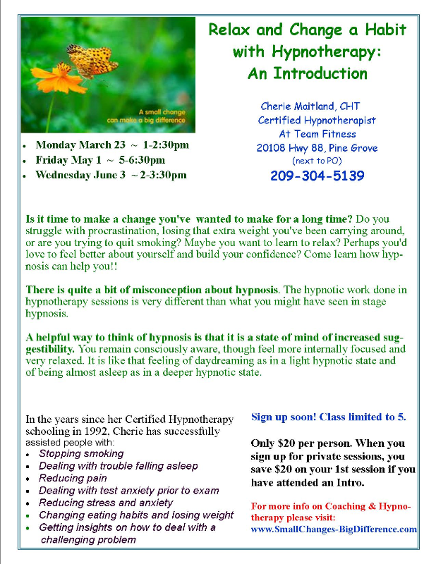 Relaxation & Hypnotherapy Classes held in March, May and June 2015