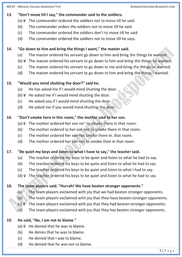 mcat-english-direct-and-indirect-speech-mcqs-for-medical-entry-test