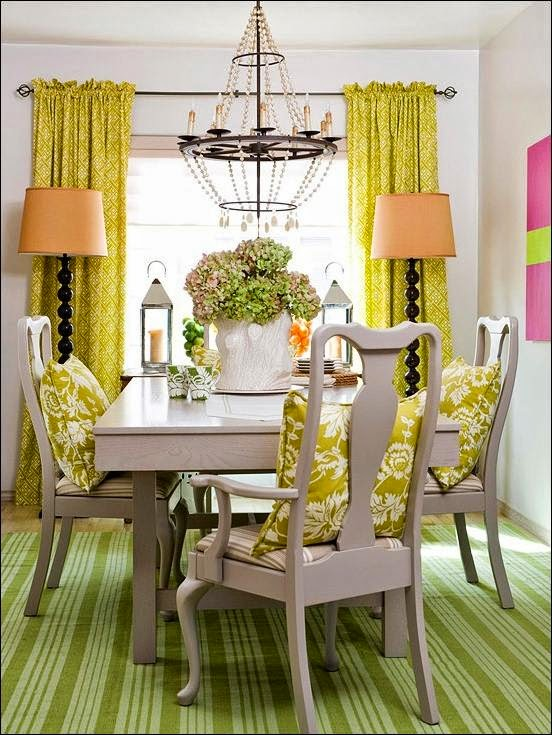 Home decor interior exterior and architecture ideas - Yellow dining room curtains ...