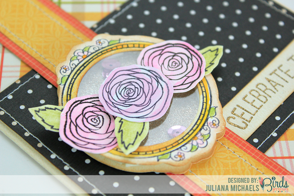 Sneak Peek Celebrate Today Shaker Box Card Juliana Michaels 3 Birds Studio #3birdsdesign #middaymedley #shakerboxtutorial