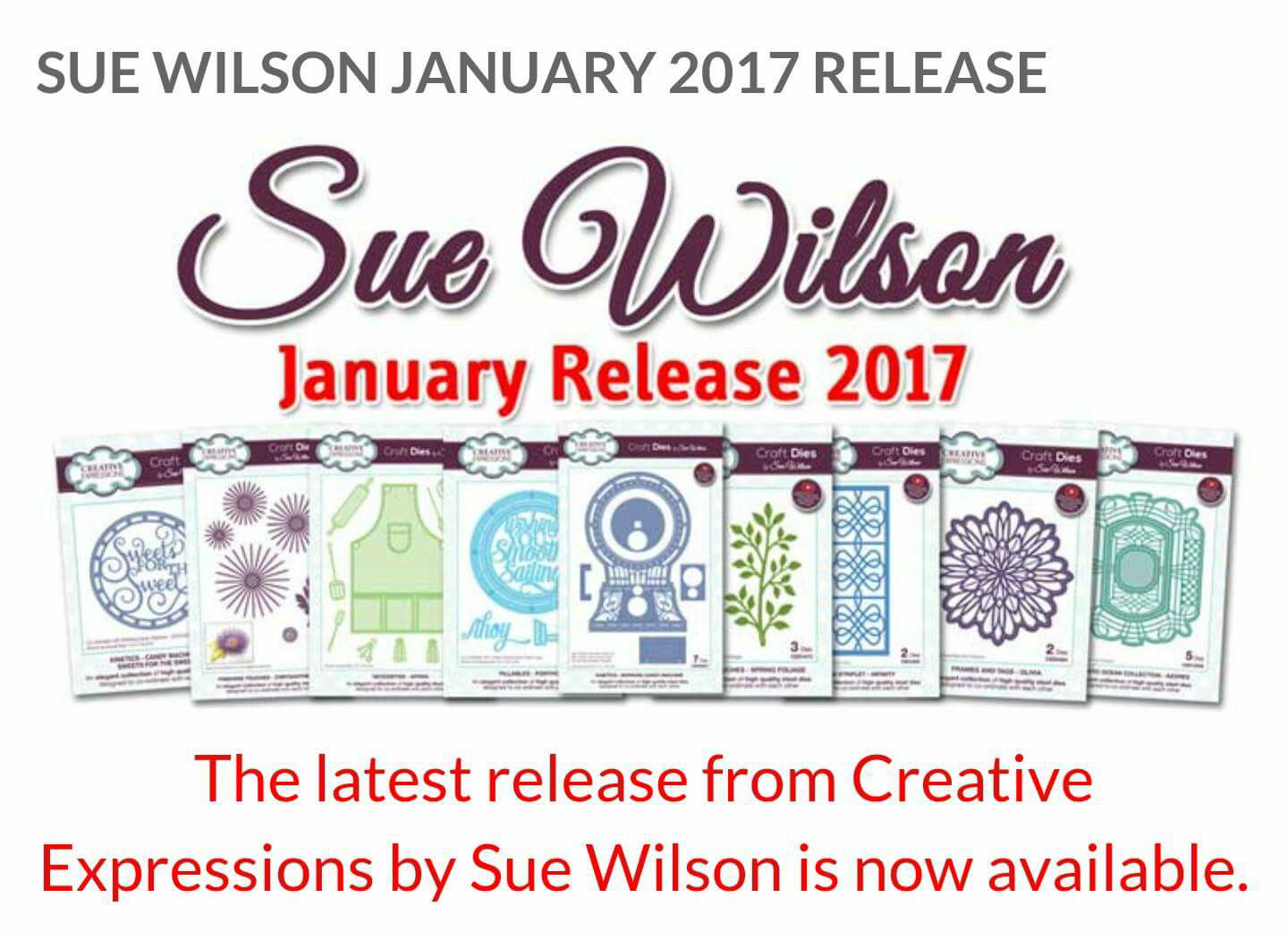 Welcome to Crafty Coo: New Sue Wilson range January 2017