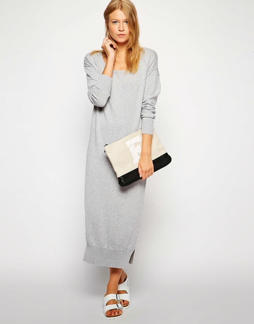 light grey midi dress