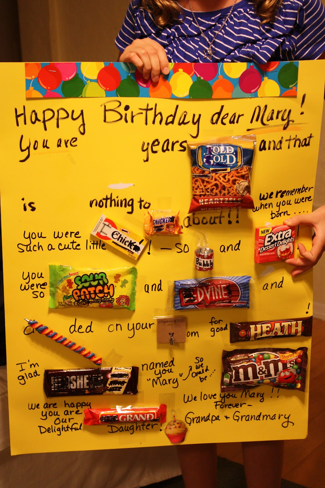 Grandmarys Famous Candy Bar Poster Birthday Tradition Love It