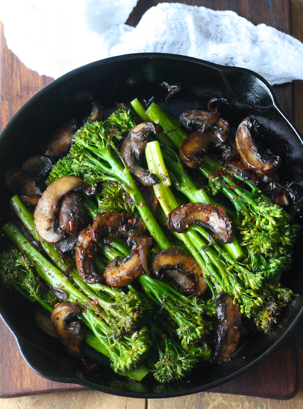 Roasted Broccolini with Mushrooms in Balsamic Sauce recipe by SeasonWithSpice.com