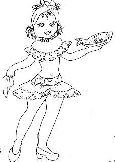 desenho de baianinha com peixe para pintar