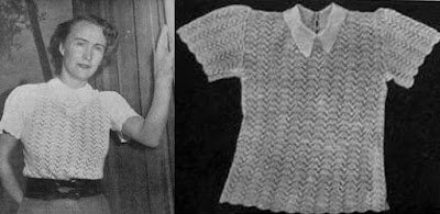 The Vintage Pattern Files - Free 1940's Knitting Pattern - A White Lace Blouse