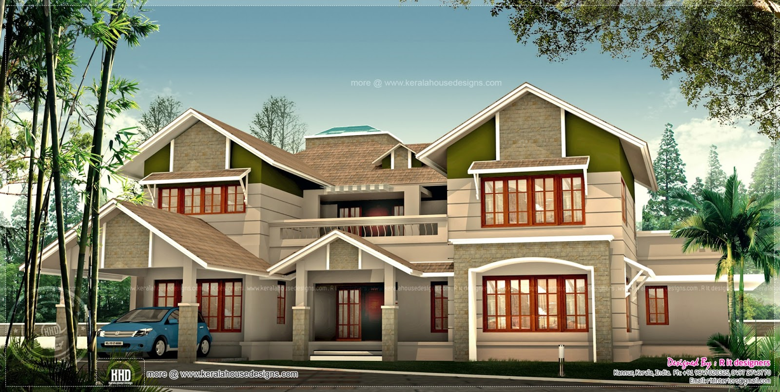 Exterior design of 4050 sq ft house kerala home design for 450 square foot house