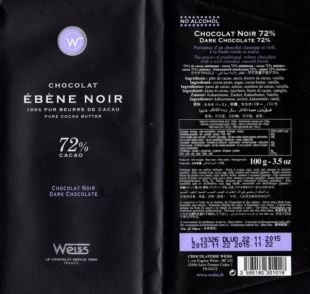 tablette de chocolat noir dégustation weiss noir ebène noir 72