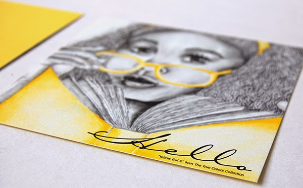 Yellow Girl Hello Postcard Invitation Cards front back flat stationery invitation upclose