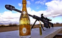 Opening Champagne With A Sniper Rifle