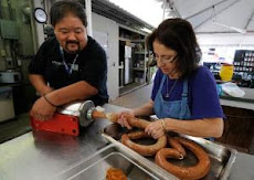 Wanda and David making sausage
