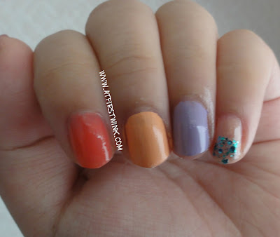 Colorful nails using Etude House and Peripera nail polishes